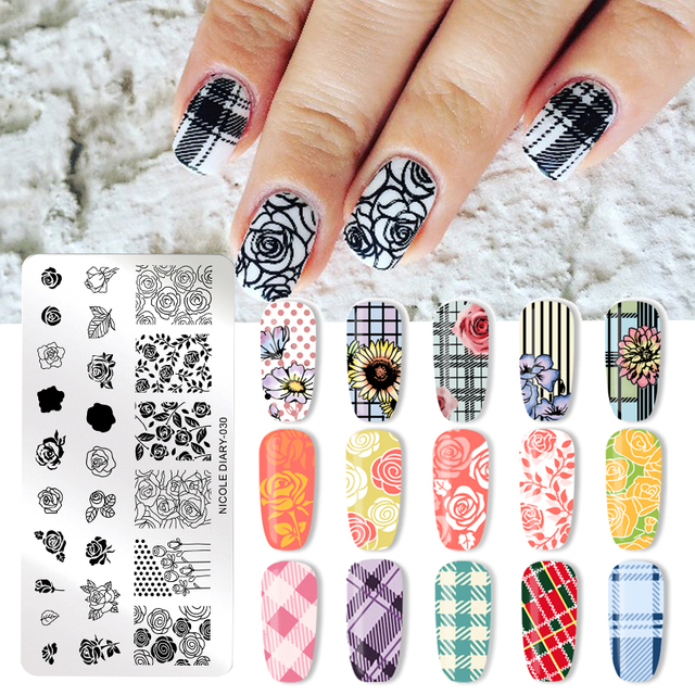 NICOLE DIARY Valentines Day Nail Stamp Plate Rectangle Nail Art Stamping Image Template DIY Nail Plate Geometric Print Stencil
