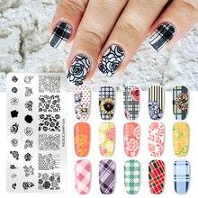 NICOLE DIARY walentynki Nail Stamp Plate do dekoracji paznokci (kształt prostokątny) tłoczenie szablon obrazu DIY Nail Plate nadruk geometryczny wzornik
