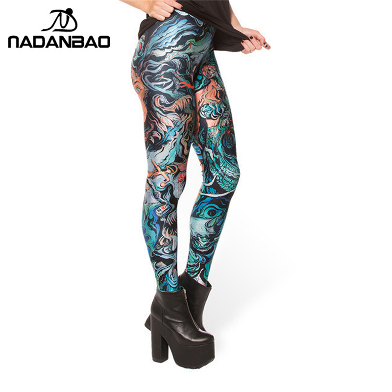 7719934f8ced3e NADANBAO Black Milk New Sketche sofa Merman Print Leggings for Women Skinny  Long leggins women pant-in Leggings from Women's Clothing on Aliexpress.com  ...
