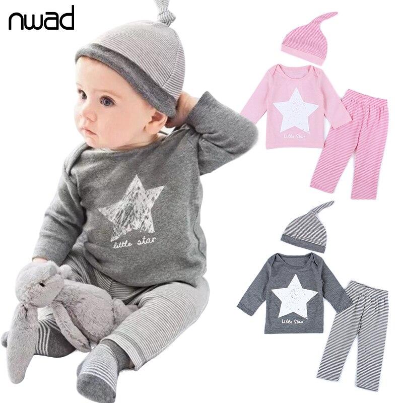 ⑧3 unids/set 2017 bebé niña ropa set niño niños estrella conjunto ...