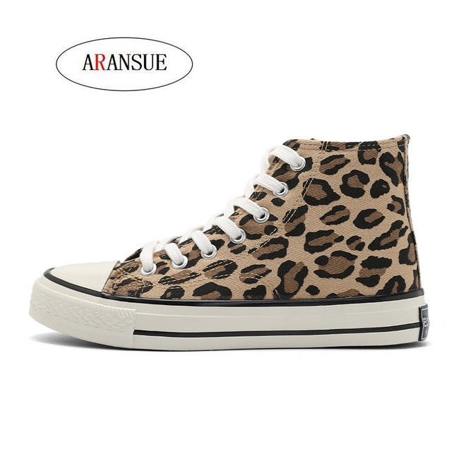 ARANSUE New Fashion personality Leopard high canvas women's shoes Korean sytle match with casual Flat bottomed women shoes