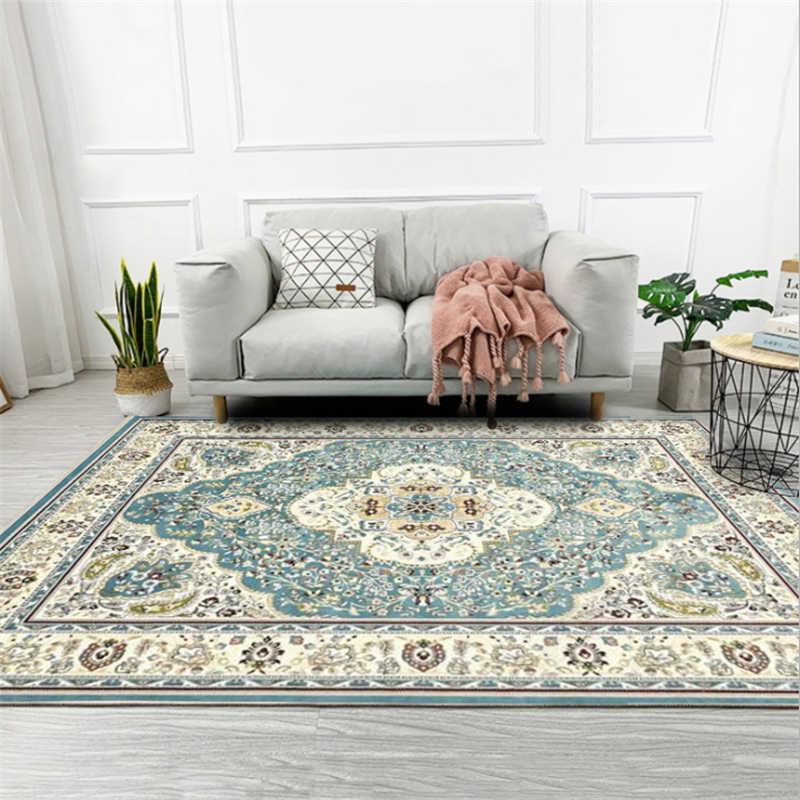 Ethnic Style Retro Light Blue Carpet Carpets For Living Room
