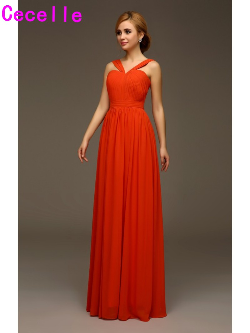 2019 Hot Long Orange Chiffon   Bridesmaids     Dresses   With Straps formal Summer Wedding Party   Dresses   Custom Made Wed Party   Dress