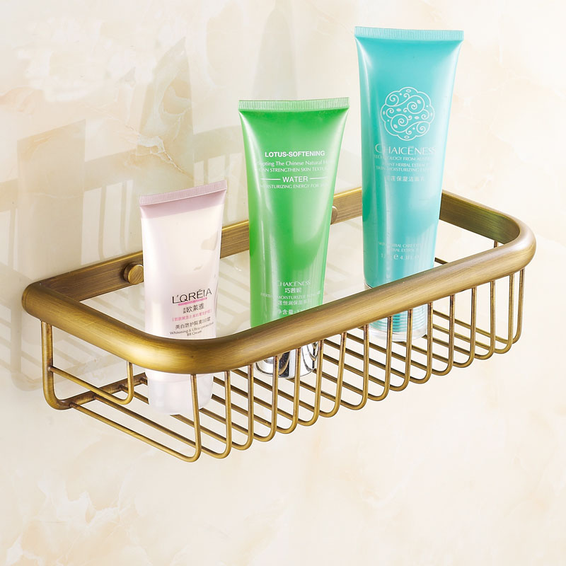 30/45cm Square Antique Copper Wall Mounted Bathroom Shelves Rack, Kitchen  Brass Retro Baskets Style Storage Shelf Gold/black  In Bathroom Shelves  From Home ...