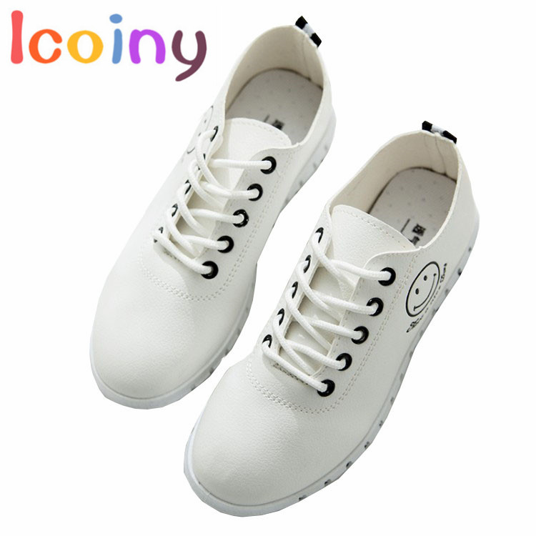 Icoiny-Women White Shoes 2017 Women's Vulcanize Shoes Casual Shoes Ladies Smile Flats Creepers Female Footwear Mujer Zapatos women canvas shoes 2017 spring autumn classic vulcanize women shoes footwear ladies creepers flats zapatos mujer chaussure femme