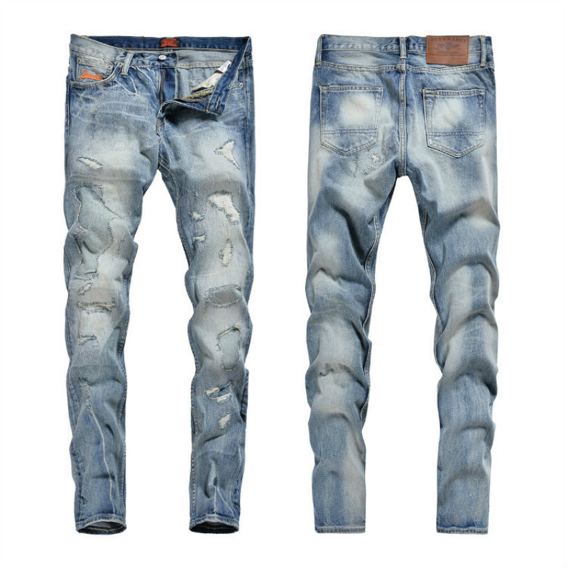Mens Hole Embroidered Jeans Worn Blue Cotton Denim Straight Men's Casual Jeans Men Casual Motorcycle Denim Biker Stretch Jeans denim zipper hollow worn stiletto womens sandals