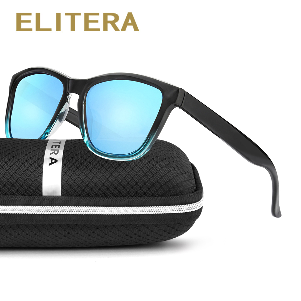 ELITERA New Fashion Polarized Women Solglasögon Berömd Lady Brand Designer Gradient Colors Coating Mirror Solglasögon UV400