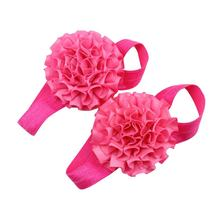 Baby Girl Ribbon Flowers Barefoot Sandals Shoes (Rose-Red)(China)