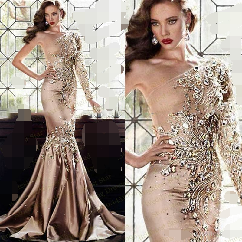 Luxury Crystal Evening dress 2019 robe de soiree Dubai One Shoulder Rhinestone Formal Gown Long Sleeve Gold Prom evening Dresses