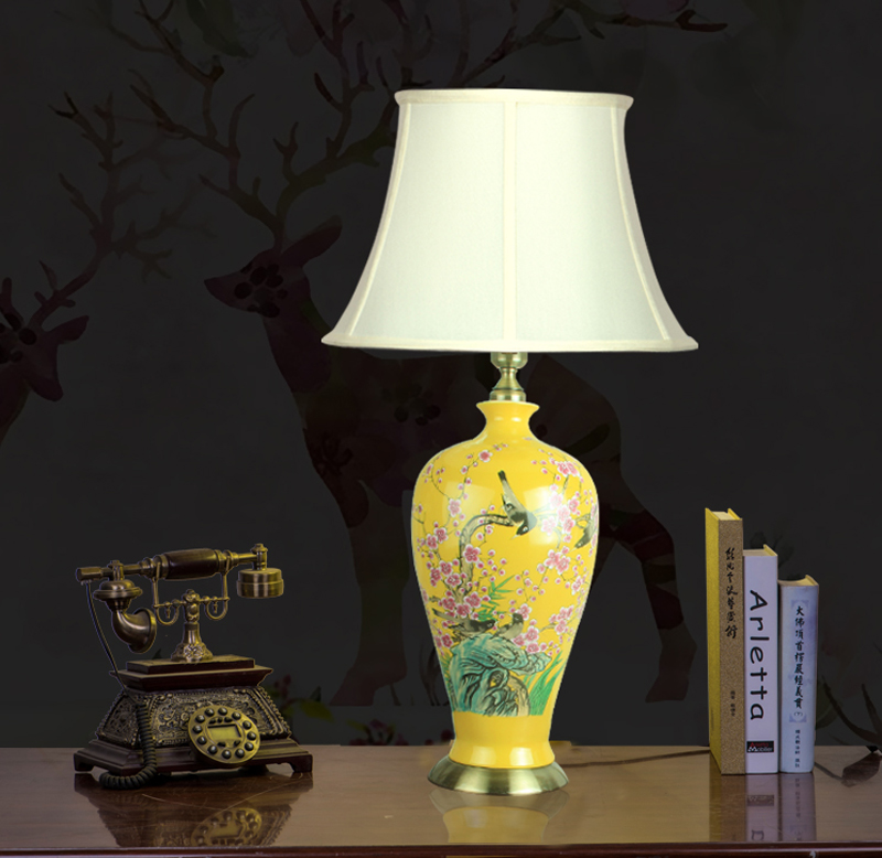 US $299.0 |Flower bird China Antique Living Room Vintage Table Lamp  Porcelain Ceramic Table Lamp wedding decoration traditional table lamp-in  Table ...