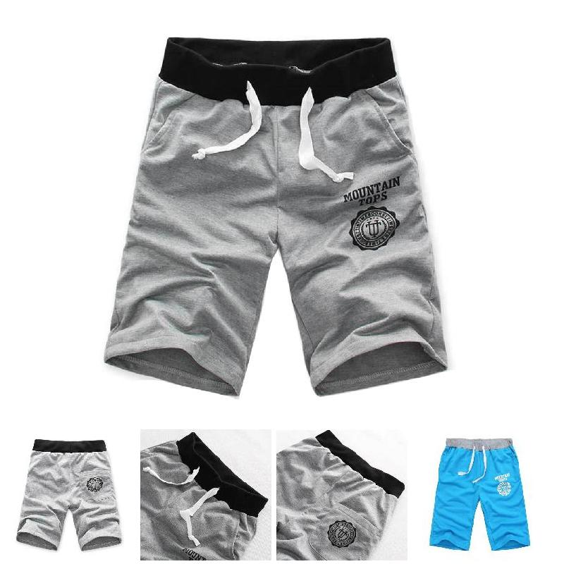 Pant Shorts Half Breathable Men for Outdoor FG66 Beach-Printing Cotton Summer Casual