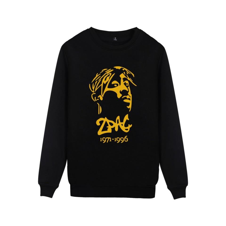 Famous Hip Hop Rapper 2PAC Hoodies Tupac Amaru Shakur Silhouette Print Pullover Capless Sweatshirt For Hip hop lover Plus Size