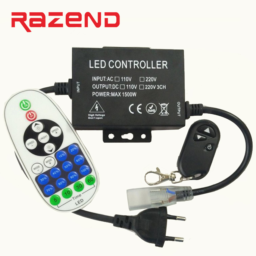 1500W 110V 220V dimmer controller with 3key/23key RF Remote EU/US plug for 100m single color LED strip Light 110v 220v 1500w rgb controller led dimmer 5key rf touch remote control eu plug us plug free shipping