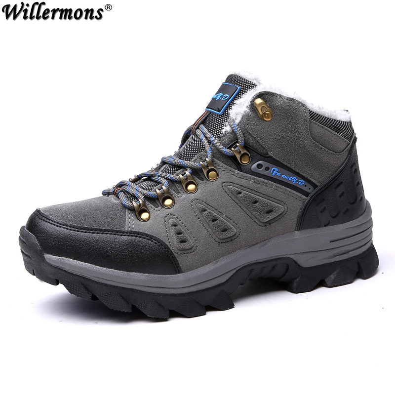 Winter Men's Anti-slip Warm Outdoor High Top Hiking Sports Boots Fur Shoes Men Army Wearable Climbing Sneakers Shoes Camping yin qi shi man winter outdoor shoes hiking camping trip high top hiking boots cow leather durable female plush warm outdoor boot