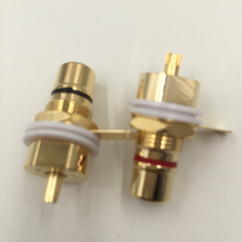 цена на 10pcs CMC Gold Plated Copper RCA Female Phono Jack Panel Mount Chassis Connector