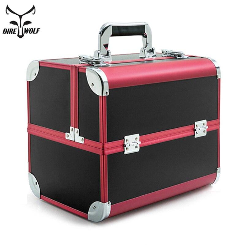 Портативный Professional косметичка чемоданы для косметики большой ёмкость для женщин Путешествия Макияж сумки Box Маникюр косметологии чехол