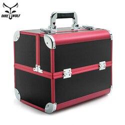 Profesional Portátil Bolsa maletas para cosméticos de gran capacidad de viaje de la mujer bolsas de maquillaje caja de manicura cosmética caso