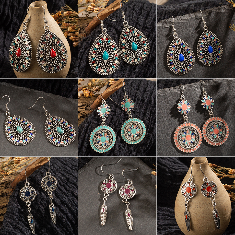 Multi color Vintage Ethnic Dangle Drop Earrings for Women Female Anniversary Bridal Party Wedding Jewelry Ornaments Accessories