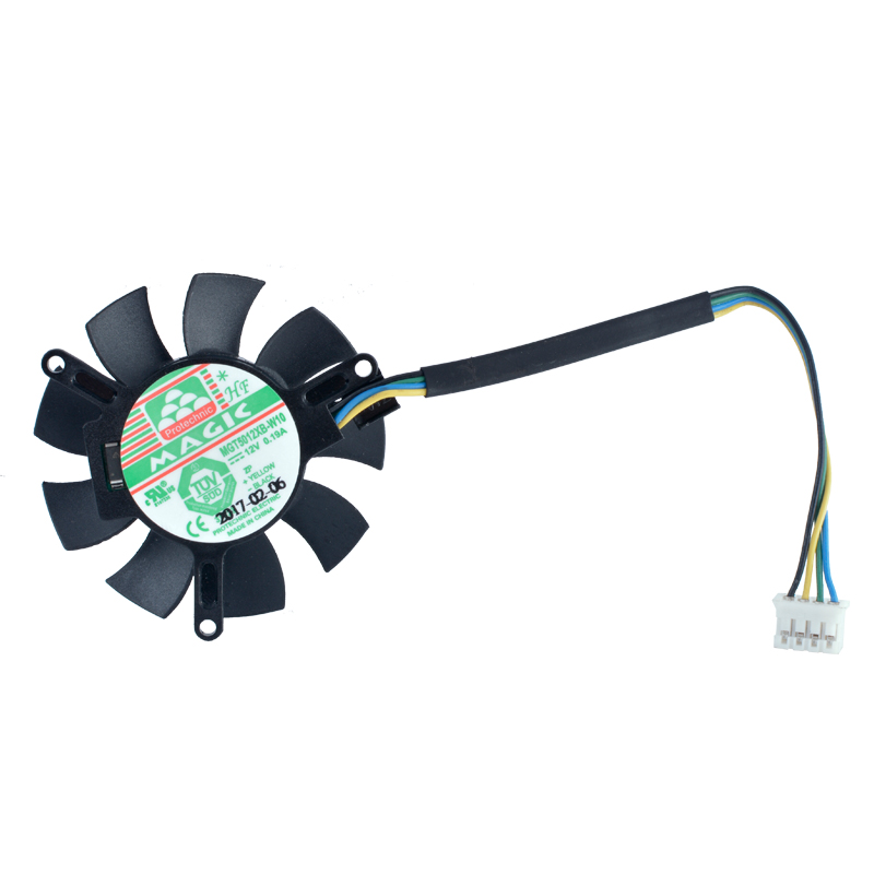 Free shipping MAGIC MGT5012XB-W10 12V 0.19A Four - line graphics card cooling fan 4pin mgt8012yr w20 graphics card fan vga cooler for xfx gts250 gs 250x ydf5 gts260 video card cooling