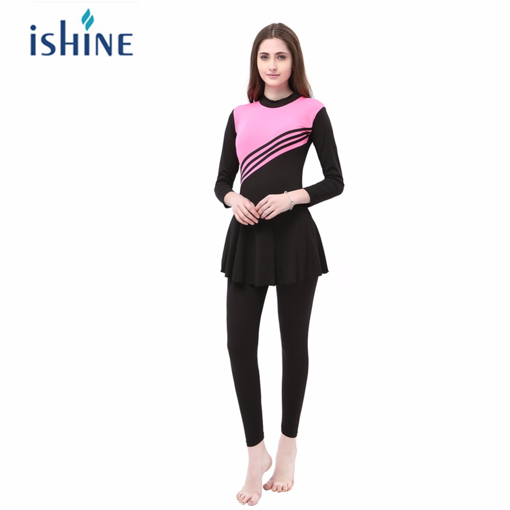 Muslim Swimwear Women Modest Patchwork Full Cover Long Sleeve Swimsuit Islamic Hijab Islam Bikinis Wear Bathing Suit Plus Size