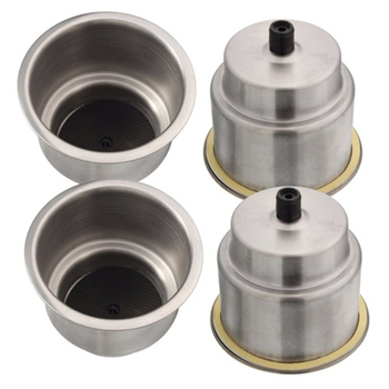 4Pcs Recessed Stainless Steel Cup Drink Bottle Holder For Marine Boat Rv For Camper Car Truck Two Stage