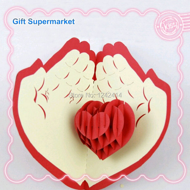 Handmade Valentines Day Cards Love Hand 3D Pop Up Creative