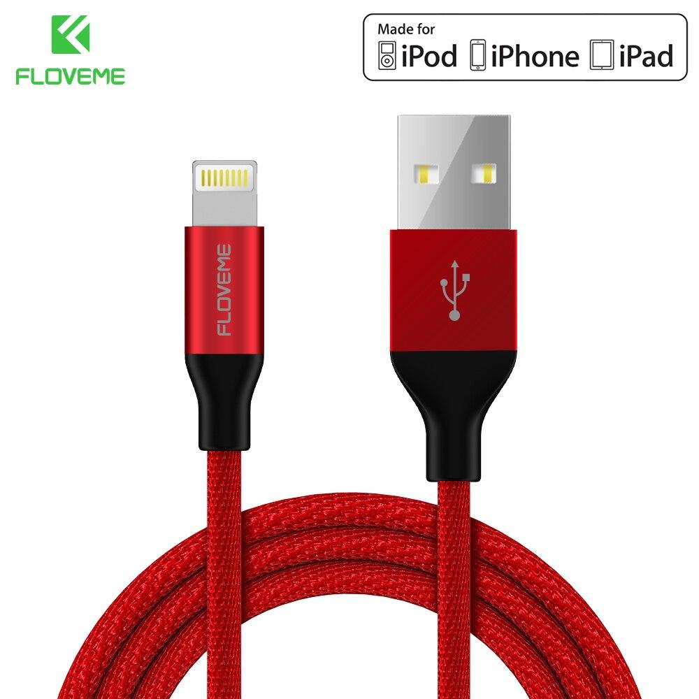 FLOVEME Original MFI Für Blitz Zum Usb-kabel 5 V/2.4A Schnellladung 1 mt Nylon Usb-kabel Für iPhone X 8 7 6 6 s Sync Ladegerät Cabo