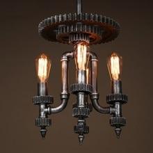 Loft stylu wodociąg droplight kreatywny biegów mechaniczna edison wisiorek światło lampy wiszące lampy zabytkowe oświetlenie przemysłowe