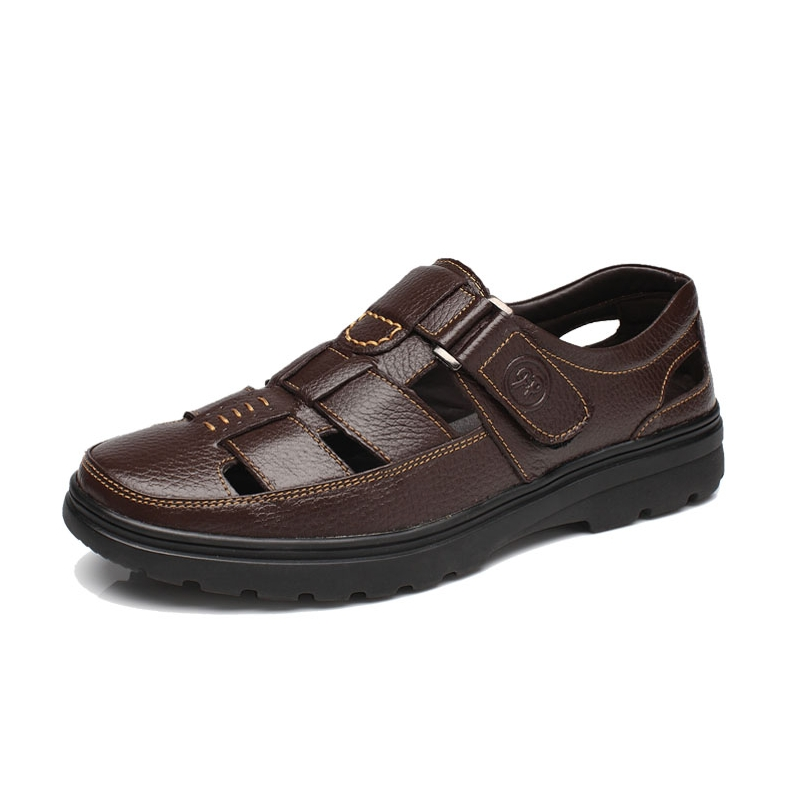 Summer Genuine Leather Summer Soft Male Sandals Shoes For Men Breathable Light Beach Casual Quality Walking Sandal DO-0122