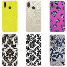 89H black and white flower wallpaper Soft Silicone Tpu Cover Case for huawei p 20 lite pro y6 2017 mate 10 lite(China)