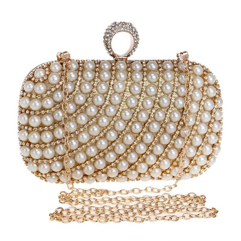 eea17999a372 TEXU/для женщин клатч Блеск вечерняя сумочка с искусственным жемчугом и  стразами для свадьбы/особых случаев вечерние сумки