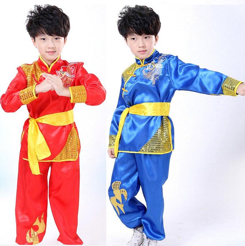 Children kid long sleeve Taekwondo Dobok Wushu Costume Kimono Judo clothing Chinese Kung Fu Suit Tai Chi  Martial Art Uniform