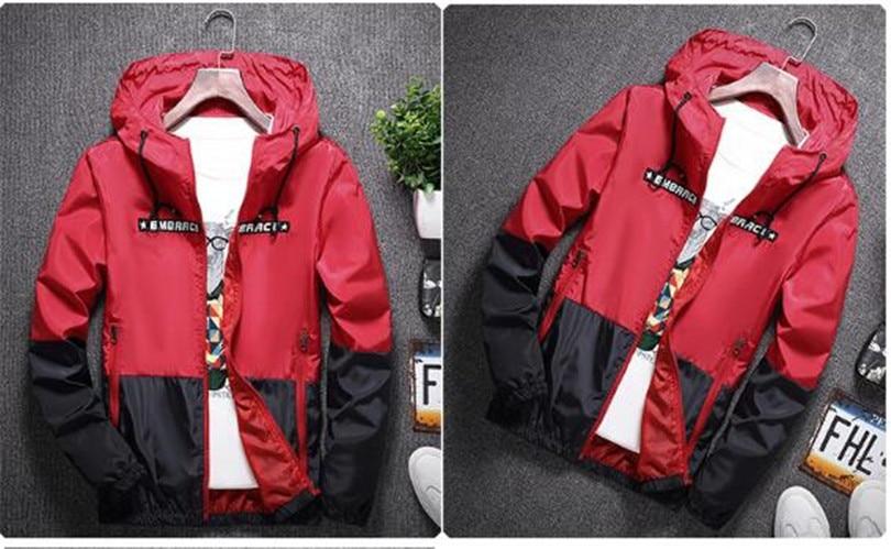 HTB16ys mKuSBuNjSsplq6ze8pXaJ New Spring Autumn Bomber Hooded Jacket Men Casual Slim Patchwork Windbreaker Jacket Male Outwear Zipper Thin Coat Brand Clothing