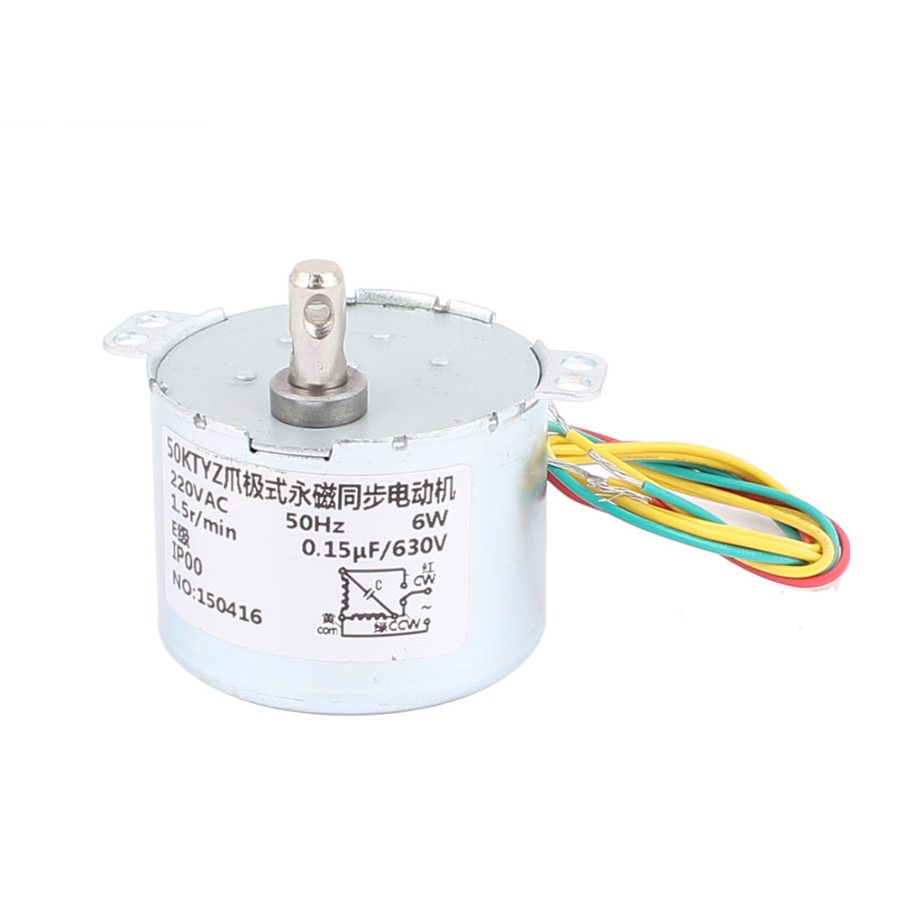 Uxcell Newest AC 220V CCWCW Direction 1.5RPM 6W 7mm Shaft Dia Synchronous Motor with CBB22 154J630V Resistance 50KTYZ