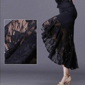 Image 3 - 新セクシーなラテンダンススカート女性黒のレースのスカート不規則な魚の尾スカートロング社交ダンスドレス