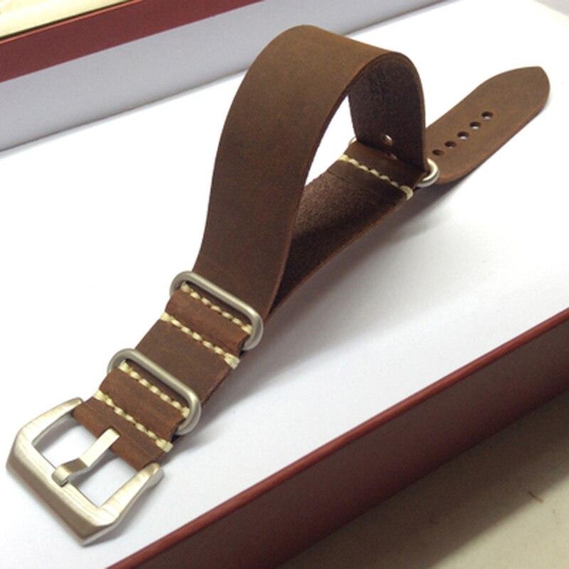 цена  20 22 24 26mm Brown Crazy Horse Genuine Leather Watchband, Fashion NATO Watch Strap Belt WithSilver or Black  Buckle Clasp  онлайн в 2017 году