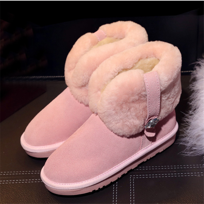 Ankle High Winter Warm Snow Boots Round Toe Crystal Decoration Platform Hairy Flat Shoes Fashion Walkway Casual Botas Femeninas цены онлайн