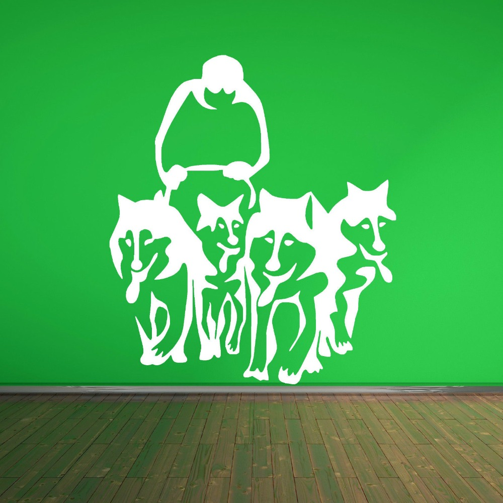 A Group Of Husky Dog Huskies Art Wall Decals Sled Sledge Vinyl Wall Mural Home Living Room House Decoration Wall Sticker Y-860