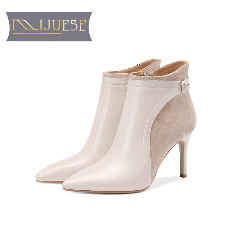 MLJUESE 2019 women ankle boots cow leather buckle strap  winter fur warm boots thin heel high heels women boots party dressMLJUESE 2019 women ankle boots cow leather buckle strap  winter fur warm boots thin heel high heels women boots party dress