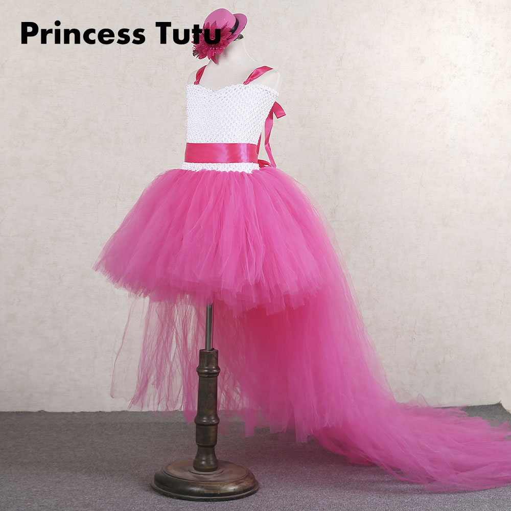 Kids Girls V-Neck Prom Knee Length Long Tail Tutu Dress Fancy Girl Birthday Wedding Photograph Carnival Gown Dresses with Hat fancy bateau neck half sleeves lace sashes a line knee length prom dress designed