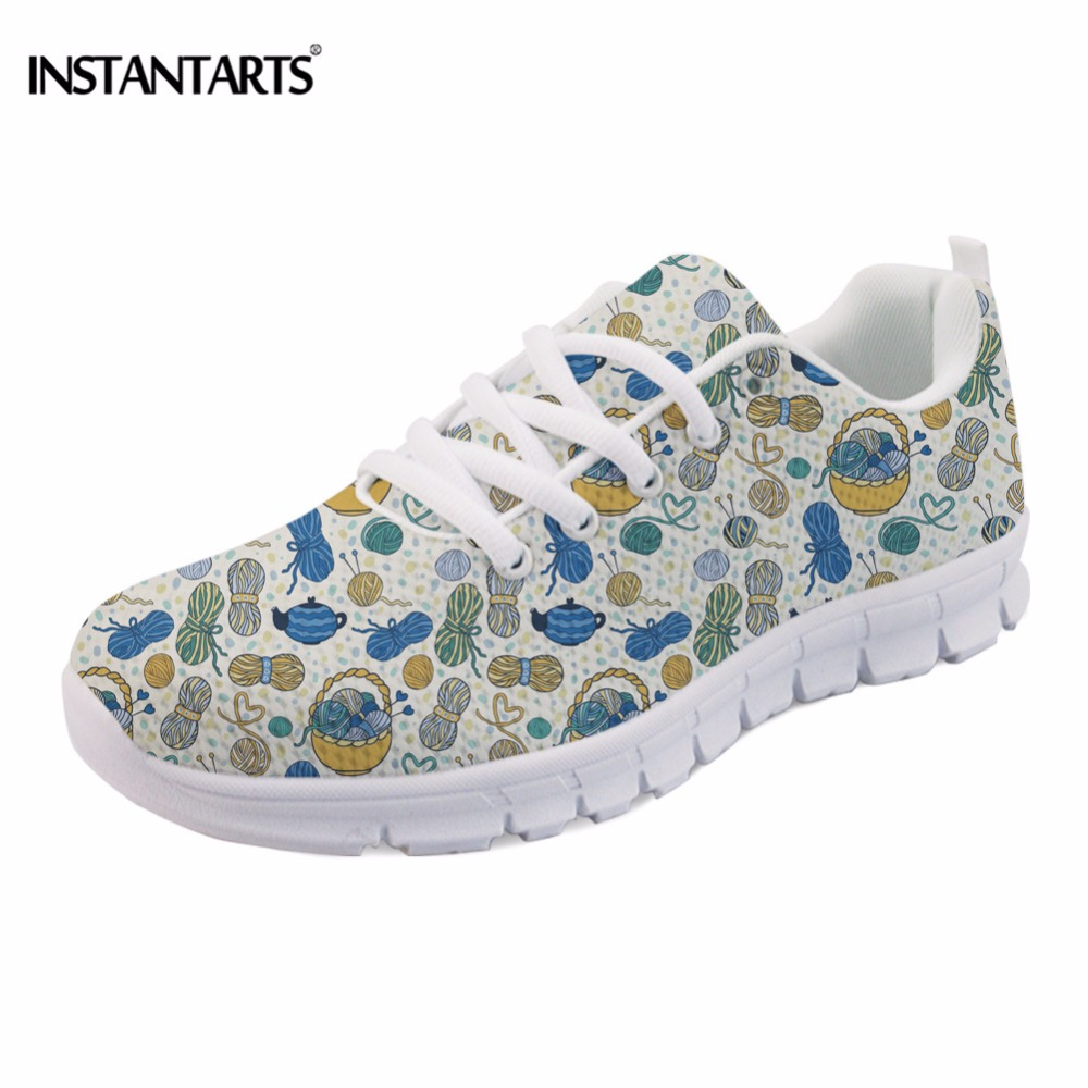 INSTANTARTS Womens Flats Fashion Knitting Yarn Pattern Sneakers Spring Summer Breathable Lace Up Shoes Causal Flat Shoe Women