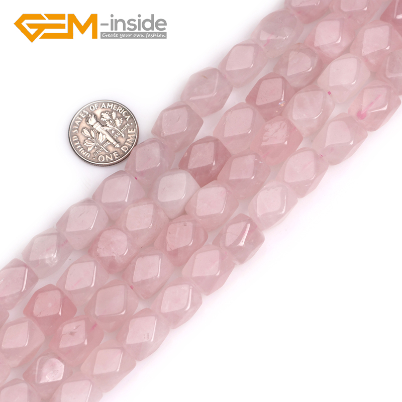 9x11mm Cubic Faced Rose Quart z Quartz Beads Natural Stone Beads DIY Loose Beads For Jew ...