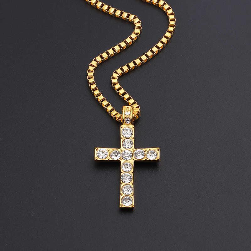ヒップホップ合金ゴールドクロスペンダントネックレス宗教アイスアウトクリスタル Crucfix ネックレス宝飾送料キューバチェーン
