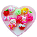 Wholesale 12pcs Mix Lot Animals Flower Heart Assorted Baby Kids Girl Children's Cartoon Rings With Display Box
