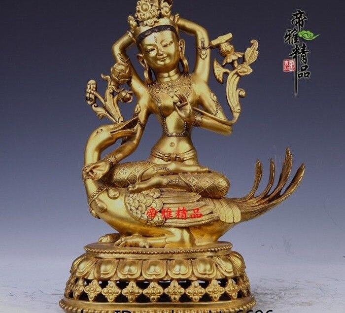 Tibet Bronze cuivre 24 K or doré canard Tara kwan-yin Guanyin Bodhisattva Statue