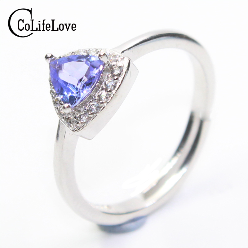 2017 New Tanzanite Ring For Woman 5mm Natural Tanzanite Silver Ring Vintage Tanzanite Wedding Ring Natural Tanzanite Jewelry