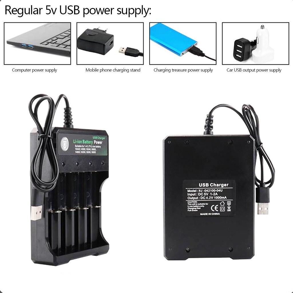 Image 5 - DC 4.2V/1A 18650 USB Charger 4 slot Li ion Battery USB Charger Adapter for Battery 18350 16340 18500 26650 18650 14500-in Chargers from Consumer Electronics