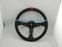 Free Shipping 2016 14-inch black leather steering wheel modification / good quality omp racing steering wheel modified