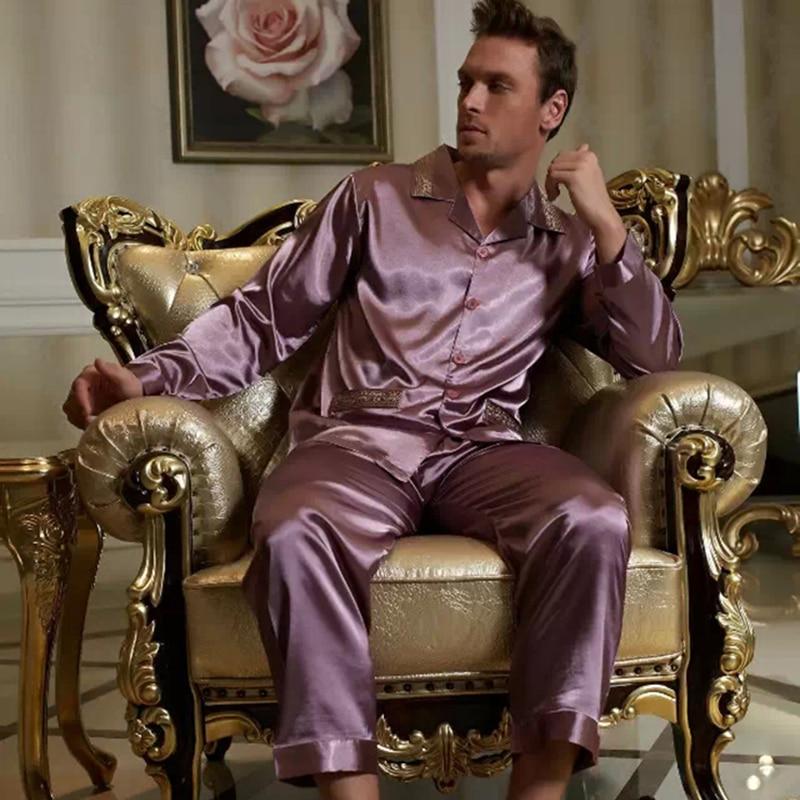 XIFENNI 2019 Brand Men Pajamas Sexy Satin Silk Pajama Pants Sets Embroidery Long-Sleeve Pyjama Lounge Casual Sleepwear 1529