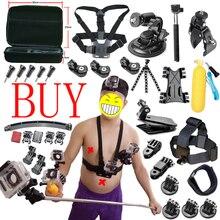 Acción sjcam cámara accesorios juego para gopro hero xiaomi yi 4 k 2 eken h9r h8r gitup git2 de vídeo de deportes de acción Cam